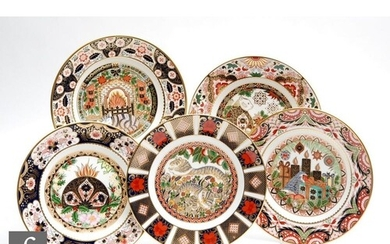 Five boxed limited edition Royal Crown Derby cabinet plates ...