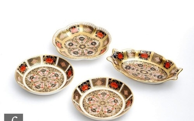 Four Royal Crown Derby pin dishes of varying form decorated ...