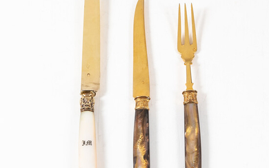 French Hardstone and Vermeil Fruit Flatware Set with Butter Knives