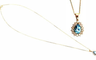 (-), Gold necklace with an entourage pendant, 14...