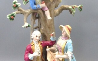 Impressive Fine Large-sized Porcelain Group Figurine in the Figure of The Apple Pickers