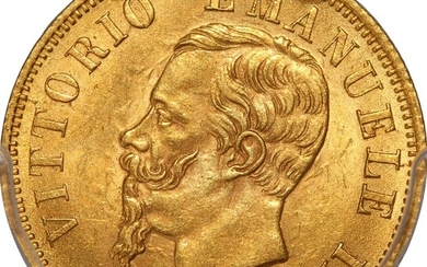 Italy, gold 10 Lire, 1863-T BN, Vittorio Emanuele II at obverse, (Fr.15)