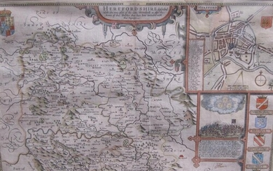 JOHN SPEED. An engraved Map of Herefordshire, hand coloured,...