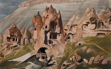 Jean-Pierre ALAUX (1925-2020)The Hippogriff, Zelve Valley, TurkeyOilon isorel.Signed lower right.Titled on the back on the frame.33 x 41 cm