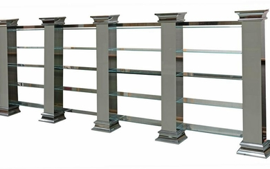 """LARGE MODERN GLASS ETAGERE BOOKCASE, 202""""W"""