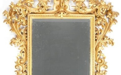 Large Continental Carved Giltwood Rococo Style Mirror