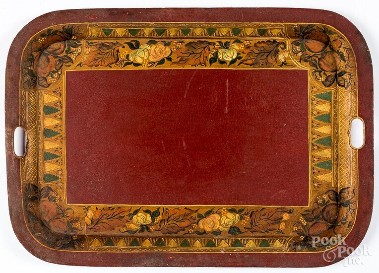 Large red toleware serving tray, 19th c.