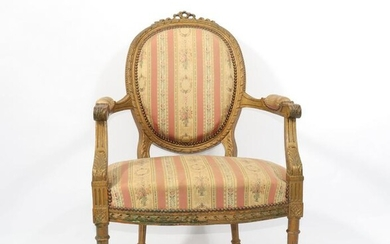 Louis XVI period armchair in carved wood 18th