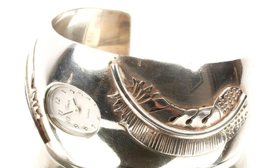 Mexican Sterling Silver Watch Cuff with Timex Watch