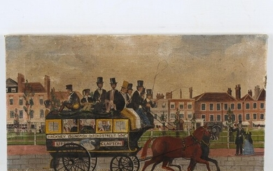 Mid-20th century oil on canvas, London omnibus, unsigned, 28...