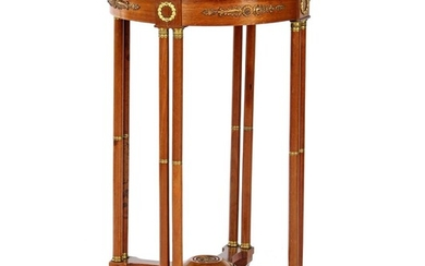(-), Walnut side table with marble top in...