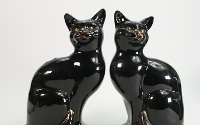 Pair Beswick black & Gold fireplace cats: 1560 & 1561, heigh...