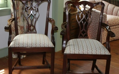 Pair of Councill Hepplewhite Style Mahogany Armchairs