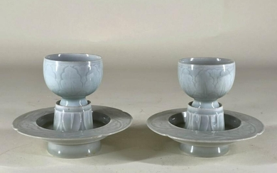 Pair of Qingbai Cups and Stands