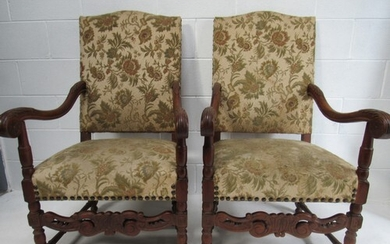 Pair of late Victorian, lions paw armchairs of large proport...
