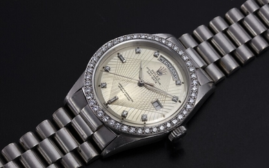 "ROLEX ""BROOKLYN BRIDGE"", A PLATINUM DIAMOND-SET OYSTER PERPETUAL DAY-DATE WITH AN ENGRAVED DIAL, REF. 1804"