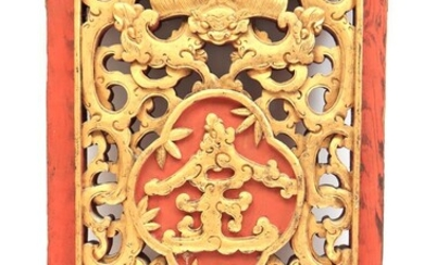 (-), Richly carved wooden wall ornament with decoration...