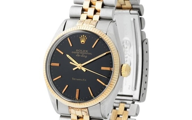 Rolex. Exceptional and Special Air-King Automatic Wristwatch in Steel and Gold, Reference 5501, With Black Dial Retailed by Tiffany