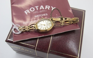 Rotary; A 9ct Gold Cased Ladies Wristwatch, within tonneau s...