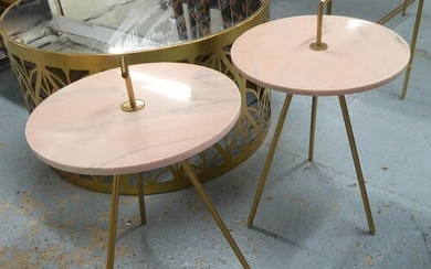 SIDE TABLES, a pair, vintage style, stone tops, with carry h...