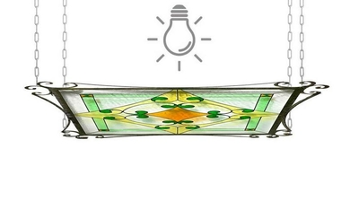 Suspension chandelier with wrought iron structure and