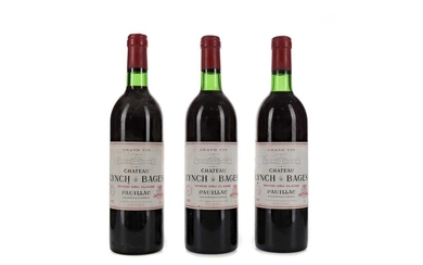 THREE BOTTLES OF CHATEAU LYNCH BAGES 1983