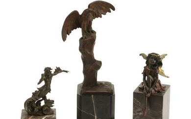 Three Patinated and Polychrome Bronze Figures on Marble