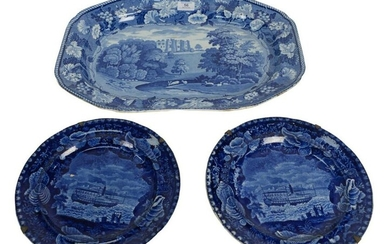 Three Piece Blue and White Staffordshire Group to