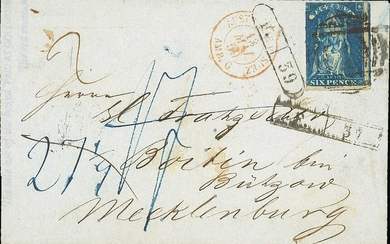 Victoria Covers 1859 (16 Mar.) entire (no side flaps) from Melbourne to Mecklenburg, bearing Qu...
