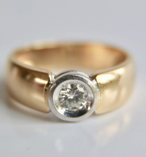 14 kt. White gold, Yellow gold - Ring - 0.37 ct Diamond - solitaire F/VS1