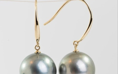 14 kt. Yellow Gold - 11x12mm Round Tahitian Pearls