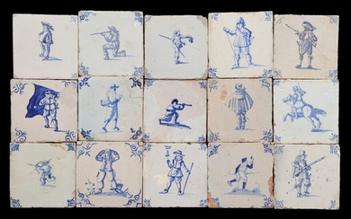 (-), 15 glazed earthenware tiles with blue and...