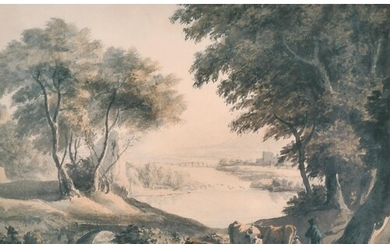 19th Century Dutch School. A Classical River Landscape with ...