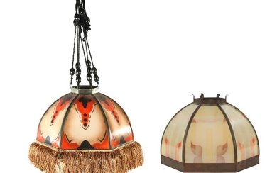 (-), 2x polychrome colored glass hanging lamp with...