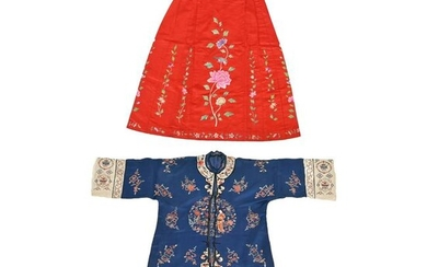 A Chinese Embroidered Silk Robe and Skirt