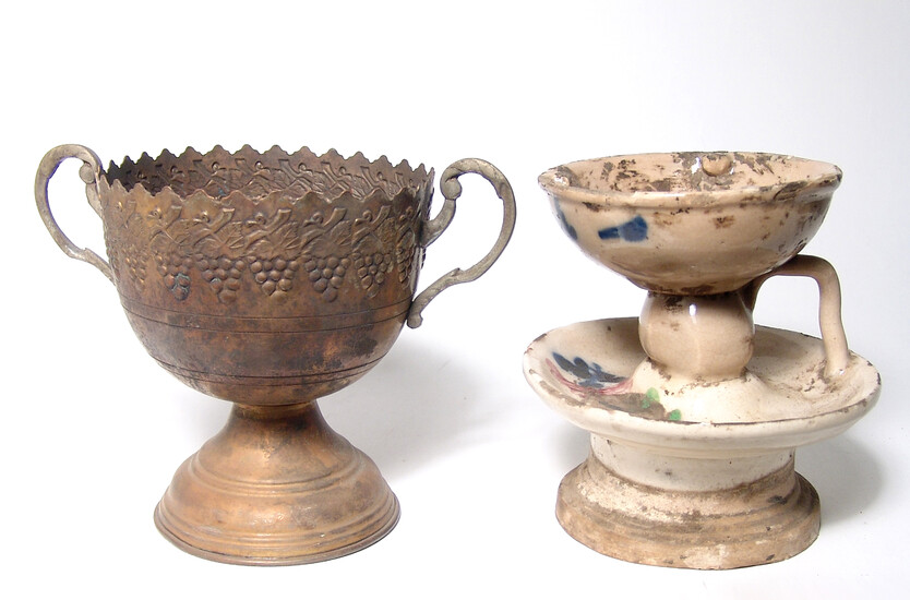 A Chinese ceramic lamp and an antique bronze chalice