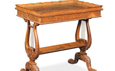 A George IV burr and pollard oak work table attributed to Gillows