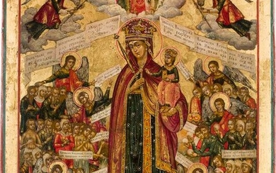 A LARGE ICON SHOWING THE MOTHER OF GOD 'JOY TO ALL WHO