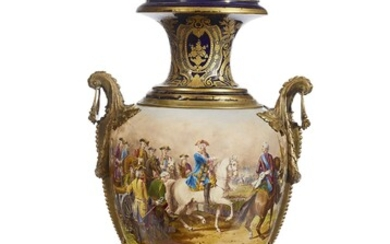 A PAIR OF ORMOLU-MOUNTED SEVRES STYLE SEMI-PORCELAIN VASES AND COVERS