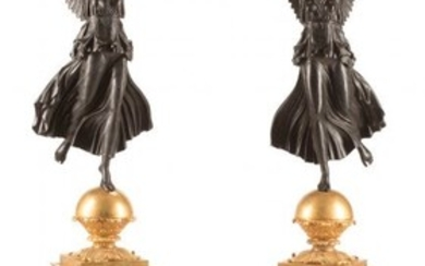 A Pair of Monumental Empire-Style Gilt and Patin