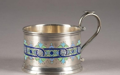 A SILVER AND CHAMPLEVÉ ENAMEL TEAGLASS HOLDER
