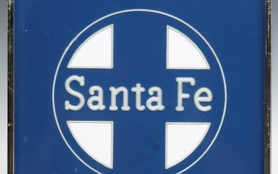 A TWO-TONE SANTA FE LOGO REVERSE CARVED IN ACRYLIC