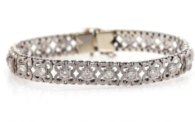 A diamond bracelet set with numerous brilliant-cut diamonds weighing a total off app. 2.20 ct., mounted in 18k white gold. L. 15.5 cm. Weight app. 23 g. – Bruun Rasmussen Auctioneers of Fine Art