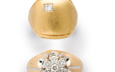 A group of diamond and fourteen karat gold rings