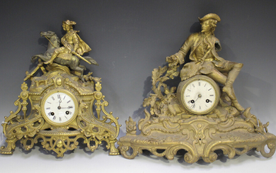 A group of four late 19th century French gilt spelter mantel clocks, each with eight day bell strike