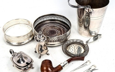 A group of plated items, including 2 wine coasters, an ice b...