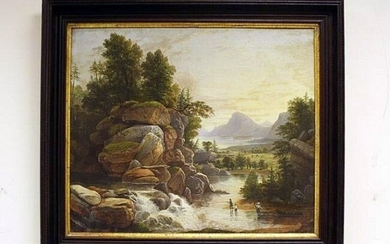 A mid 19th century oil landscape of 3 men fishing