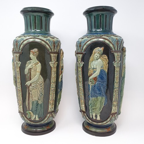 A pair of Continental pottery vases, neo classical style, de...