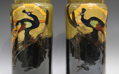 A pair of Thomas Forester & Sons Phoenix Ware vases, early 20th century, each decorated with a p