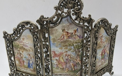 An 18th/19th century silver and enamel triptych picture